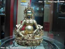 """13""""Tibet Buddhism fane Pure Bronze Copper 24K Gild Yellow Jambhala Buddha Statue"""