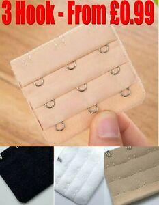 3 HOOK Ladies Bra Extender Bra Extension Strap Strapless Lingerie Underwear Mult