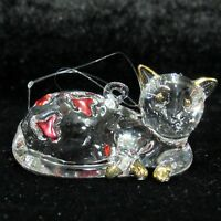 Kurt S. Adler Clear Glass Cat Kitty Christmas Ornament Laying Down