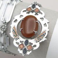 Vtg 1930s Art Deco Carnelian Glass Bi Color Enamel Silver Tone Pendant Necklace