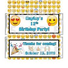 Personalized EMOTICON SMILEY EMOJI BIRTHDAY PARTY candy bar wrappers FREE FOILS