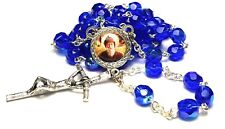 Saint Charbel Makhluf blue glass relic rosary Maronite monk priest from Lebanon