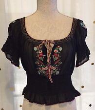 Betsey Johnson Embroidered Silk Peasant Top ALT ASO Bella Swan
