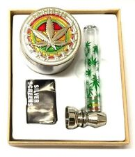 4 PART METAL MAGNETIC GRINDER WEEDS CRUSHER with GREEN LEAF GLASS SMOKING PIPE