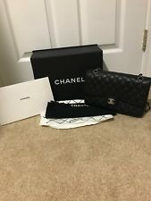 100% AuthentIc CHANEL Medium Black Caviar Classic Double Flap Bag 2.55 Silver