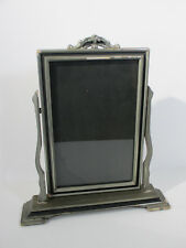 """Picture Frame Art Deco Easel Tabletop Vintage Silver Black Tilt Hold 6"""" x 10"""""""