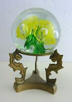 "Floral Bubble  Orb Swirl Art Glass Paperweight Figurine On Brass Stand 4"" Dia."