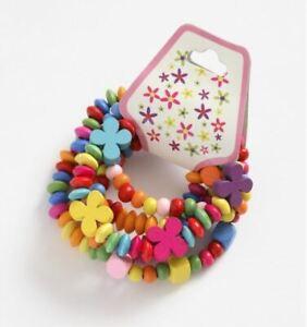 Childrens Girls Kids 5 Pack Painted Wooden Coloured Flower Stretch Bracelets
