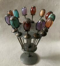 Vintage semi precious stone hors doeuvres set with stand