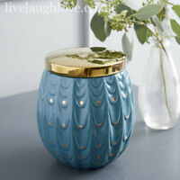 "Ceramic ""Peacock"" Trinket Pot W/ Gold Lid"