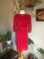 80s women's vintage red abstract print dress festival hipster size small