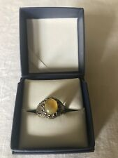 Men Ring STERLING SILVER 925 Natural Yellow AGATE(sharaf Alshams)AQEEQ Size 9