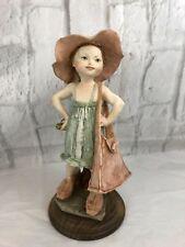 Capodimonte Style Signed Figurine Girl Oversized Purse Shoes Italy Collectible
