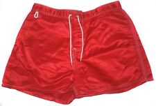 Vintage SUNDEK SHORTS SWIMWEAR BEACH PANTS BOARDSHORTS Red Nylon Shiny 31 32