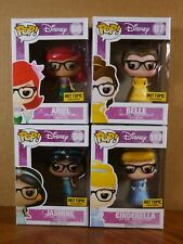Pop! Disney Ariel Belle Cinderella & Jasmine w/ Glasses Vinyl Figures (Set of 4)