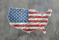 United States Outline Flag Map Stone Background Photo Art Print Poster 18x12 inc