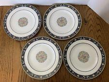 "Wedgwood RUNNYMEDE Cobalt Bone China - 4 Salad  Plates 8 1/8"" England W4472"