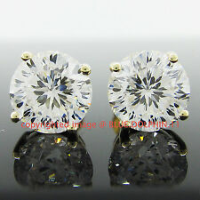 Real Solid 9k Yellow Gold Stud Fine Earring Engagement Wedding Simulated Diamond