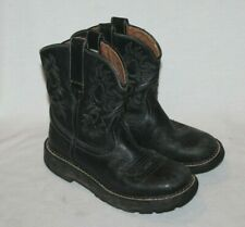 Womens ARIAT Fatbaby 14788 Black Stitched Leather Roper Western Boots 6.5 B
