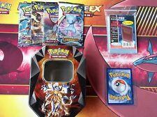 Pokemon Tin Box Geschenk Paket - seltene GX/EX Karte + 4 Booster + 100 Hüllen