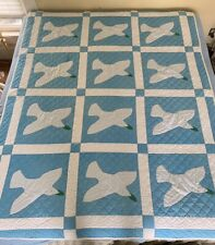 Vintage Hand Stitched HOLY SPIRIT Quilt Large 84 X 64 Blue Green Peace Dove