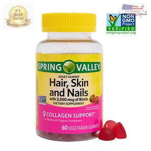 Spring Valley Adult Gummy Hair, Skin & Nails 2500 mcg of Biotin 60 ct Strawberry