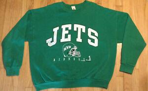 Riddell Vintage 1997 New York Jets sweatshirt XL green NFL 90s helmet crewneck