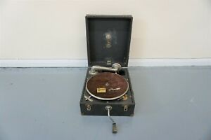 Antique Tyrela Wind Up Gramophone In Hard  Carry Case - Working Order