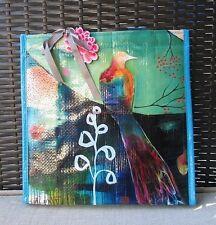 Peacock Flora Bird Watercolor Insulated Lunch Bag Papaya Art Women's Tote Bag