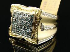 10k Hombre Oro Amarillo Multicolor XL Anillo con Diamante 1.20C