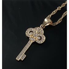 Light Pink Cubic Zirconia 925 Sterling Silver Rose Gold Key Pendant Necklace UK