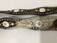 Vintage Nocona Jeweled Pony Hair Sculpted Belt with Ornate Buckle M 35 x 1.5