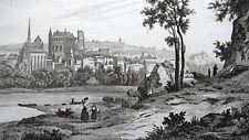 GRAVURE ANCIENNE 19e - VUE DE POITIERS - VIENNE