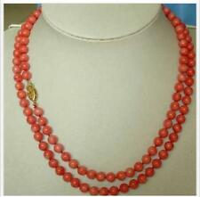 """natural AAA+ 2 row 35"""" long 6mm red coral necklace 14k gold clasp Dinner jewelry"""