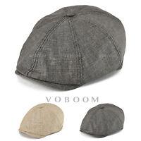 VOBOOM Linen Newsboy Cap Men's Gatsby Cap Ivy Flat Golf Summer Breathable Cabbie