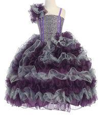 New Girl Pageant Party Wedding Ruffled Dress Bolero Plum/Silver sz 2 4 6 8 10 12