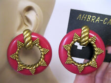 Vtg New Gold & Pink Lucite Hoop Drop Dangle Clip On Earrings 70's 80's Retro