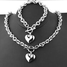 Hot Sell Womens Silver Stainless Steel Rolo Heart Necklace Bracelet Set Toggle
