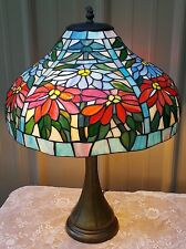 TIFFANY STYLE STAINED GLASS LAMP RED BLUE FLORAL SHADE