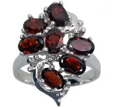 Garnet Gemstone Cluster Sterling Silver Ring size Q