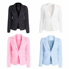 Button Cotton Blend Casual Blazers for Women