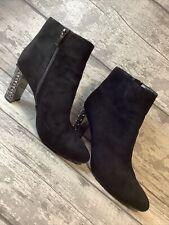 Women's Black Ankle Boots Pointed Toe Heeled Size 8 Lunar Faux Suede Diamanté