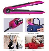 2 in 1 Wireless Iron Hair Straightener Ceramic Cordless Mini Handbag USB Curler