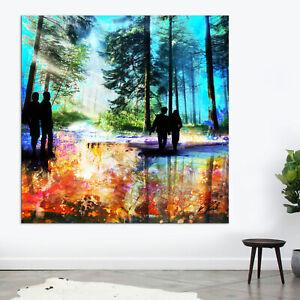 Wald Bäume Natur Buntes Bild Leinwand Abstrakte Kunst Bilder Wandbilder D2162