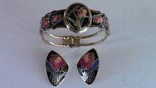 Vintage Clamper Bracelet Locket & Earrings,Gold Metal Cloisonne Enamel Flowers,