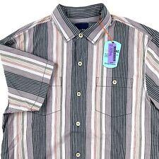 eefbec732485 Tommy Bahama Mens Camp Shirt Narcia Stripe Jet Black T317716 Silk Medium M