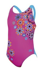 Zoggs Junior Girls Folk Tale Flyback Pink & Blue Swimming Costume Age 12 & 14