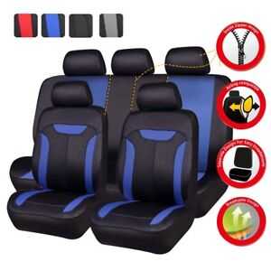Universal Car Seat Covers Blue Airbag Breathable Full Set Front&Rear 5 Seats
