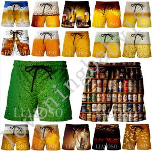 New MenWomen Summer Casual Shorts funny beer 3D Print Fashion Loose Beach Shorts