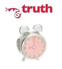 Genuine TRUTH PK 925 sterling silver and enamel ALARM CLOCK charm bracelet bead